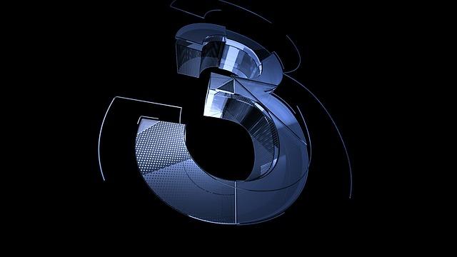 number_three_3_metallic_blue_3d_techno_640